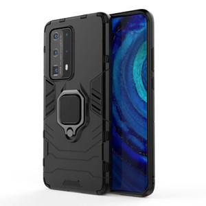 Case For Huawei P40 Pro Plus Shockproof Bumper Phone Case For Huawei P40 Lite E 5G Armor Metal Ring Holder Case For Huawei P40