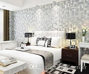 3D Mosaic Lattice Wall paper Europe Modern Embossed Flocking Non-Woven High quality Living room TV Background Wallpaper R598