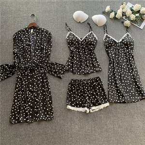 JRMISSLI 여성 4 조각 잠옷 세트 섹시한 실크 얼룩 파자마 여성 잠옷 잠옷 잠옷 Nighties 최고 로브를 설정합니다