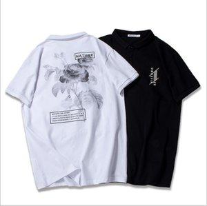 Moda Tasarımcısı Polo Erkek T Shirt Için Yaz Marka Erkek Polo Gömlek Kısa Kollu Erkekler Çiçek Baskı Polo Gömlek Yüksek Kalite Rahat 2 renkler