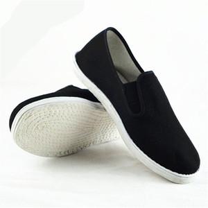 Cotone Suola Mens Kung Fu chiuso le dita dei piedi Slip On Scarpe Nero cotone Scarpe Bruce Lee Vintage cinese Kung Fu Wing Chun scarpe Tai Chi