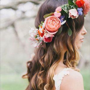 10pcs Hot vender Europeu e nova banda flor de cabelo boêmio noiva moda americano Tire uma foto mantilha Mar guirlanda turismo