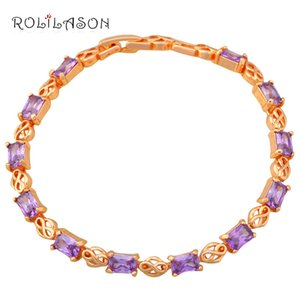 ROLILASON Gorgeous golden Crystal Bracelet Valentine Day Gift for Lover Purple Violet Zircon Bracelet TBS1145