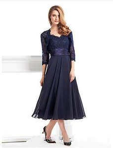 2019 New Tea-length 3 4 Length Sleeve Chiffon Lace with Lace A-line Mother of the Bride Dress vestidos de novia