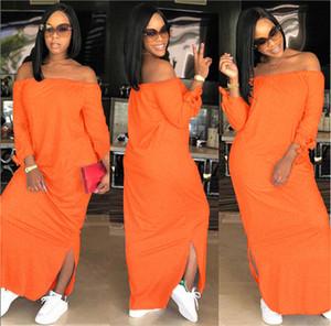 Женский Pure Color Fashion Dress Лето Дизайнер Slash Шеи Женские Платья Повседневная Дамы Обшитые Свободная Одежда