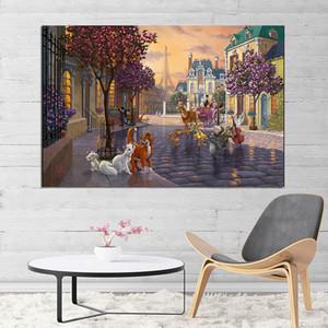 O Aristocats bonito pintura de Thomas Kinkade parede decorativa Art Pictures Para Living Room Home Decor 191002