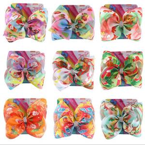 14 Farben 8-Zoll-Weihnachts JOJO Haarschleife mit Weihnachtsbaum Weihnachtsmann Schneemann-Druck mit Crystal Design Mädchen Zubehör