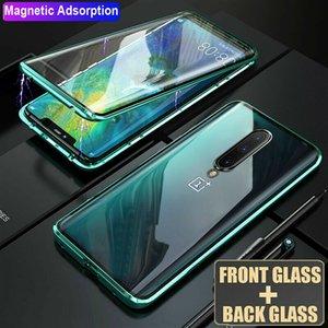 جانب مزدوجة فاخرة ورقة الزجاج المقسى المغناطيسي حالة الهاتف للون بلس 7 واحد زائد 7 برو 360 معدن غطاء كامل وقائي قوي