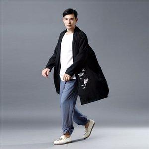 Hommes Baggy Coton Lin Cardigan Streetwear swag Traditionnel Long Kimono Coton Lin hip hop Emboridery Windbreaker Veste