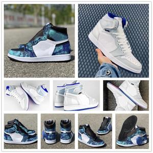 Nuevos 1 zapatos de alta OG zoom R2T teñido anudado de baloncesto del Mens Blanco Gris Azul Racer 1s WMNS R2T Nylon Mujeres UNC Jumpman Deportes zapatillas de deporte