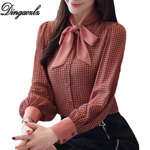 Dingaozlz Primavera Donna camicetta di modo Bow tie pied de poule Femminile Top manica lunga camicia in chiffon Blusa