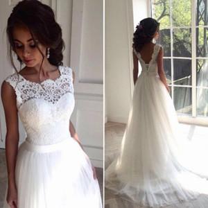 Bateau Cou Tulle avec Appliques Une ligne robes de mariée blanc ivoire Boho robes de mariée bouton Retour