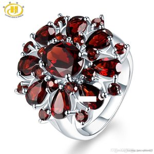 Wholesale Fine Jewelry Ring 100% Guaranteed Real 925 Sterling Silver 7.54 ct Natural Gemstone Black Garnet Flower Women Wedding Party Gifts