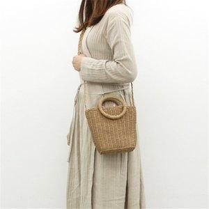 보헤미안 스타일 유행 수제 핸드백 간단한 천연 밀짚 가방 크로스 바디 짠 비치 가방 여성의 새로운