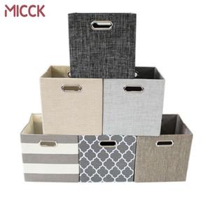 Almacenamiento plegable MICCK Caja de la cesta de lavadero de las misceláneas ropa de los niños de juguetes ropa interior sujetador Lazos Armario cuba de almacenamiento de escritorio Caja de Libros T200320