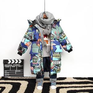 Хлопчатобумажная куртка мягкая детская сгущает теплая одежда детская одежда Граффити Камуфляжная цветочная детская пуховая зимняя куртка для мальчика парка