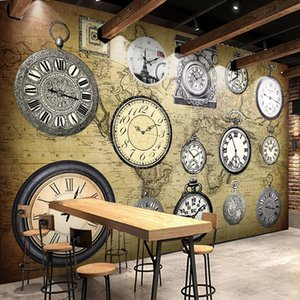 Photo Wallpaper 3D European Style Retro Clock Murals Restaurant Cafe Bar Clubs Background Wall Painting Vintage Wall Paper For Walls 3 D