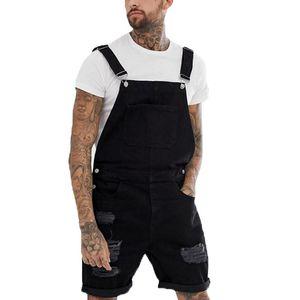 Jeans Combinaisons Pantalons d'été Retro Distressed Denim Salopette pour hommes Homme classique jarretelle Pantalons courts de Mode Hommes