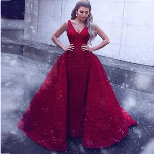 Vestido de Baile Sem Encosto de Renda Vermelho Vestidos de Casamento com a Sobrecobertura de Vestidos de Noiva 2019 Custom Made V-Back PromDress EveningParty Vestido