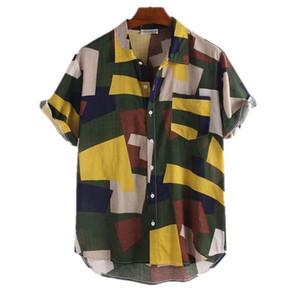 남성 격자 무늬 패치 워크 여름 셔츠 남자 라펠 넥 반소매 대비 색상 느슨한 셔츠 남성 패션 캐주얼 의류