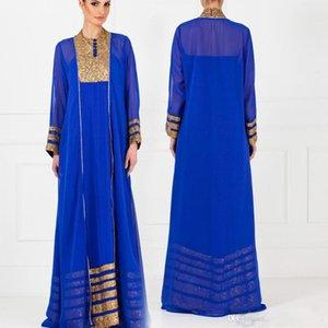 2019 Nueva manga larga vestido elegante Vintage Royal Blue Dubai Kaftan árabe musulmanes formales vestidos de noche de estilo árabe
