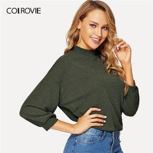 COLROVIE Green Solid Stand colletto lavorato a maglia Elegante T Shirt Donna Top Femme Tee 2019 Primavera Casual Camicie Abbigliamento da ufficio