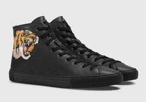 Yeni Yüksek Kaliteli Deri Erkek Rahat Ayakkabılar Düz Hi-En Sneakers Siyah Beyaz Kaplan Kafası Yılan Kadın tasarımcı çizmeler # 273