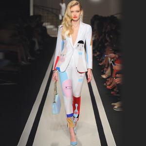 Trajes de pantalón de pasarela de nueva llegada para mujer Blazer de manga larga con un solo botón y pantalones de lápiz Conjuntos de dos piezas con impresión de arte abstracto P758
