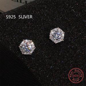 Fashion Jewelry semplice stordimento reale 925 Sterling Silver taglio rotondo Topazio bianco diamante della CZ delle pietre preziose del partito delle donne nuziale Orecchino