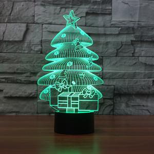 Yeni Noel Ağacı Dekorasyon Gece Lambası Akrilik 3D Gece aydınlatması Renkli Dokunmatik LED Luminaria de mesa