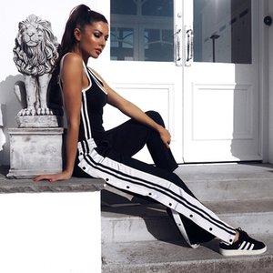 Striped Sweatpants Female Side Button Jogger Pants Snap High Split Open Trousers Trendy Trackpants Women Street Style Harajuku