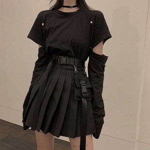 Bolsillo de la manera NiceMix conjunto negro A-line atractivo de las mujeres mini Falda de talle alto Streetwear mujeres punk de costado Diseño falda plisada