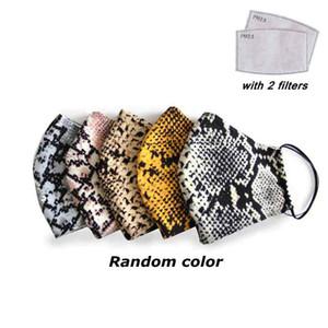 Woman Polyester Cotton Face Masks Washable Reusable Leopard Mask Dustproof Anti-Haze PM2.5 Mask With 2pcs Filters ZZA2149