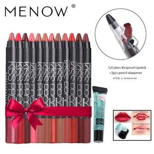 Menow Make up set 12 colori / pacchetto Bacio prova impermeabile temperamatite Rossetto regalo 1Pcs Matita e 1Pcs di rimozione del gel della nave di goccia 5366