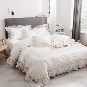 Home Textile 100%Cotton White Lace Bedding set King Queen Twin size Solid Princess Bed set Girls Korean Duvet Cover set Bed skirt Pillowcase
