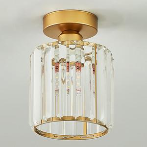 lumières moderne petit lustre en cristal lampe carré lustre d'or de luxe luminaire LED plafond pour couloir balcon entryway