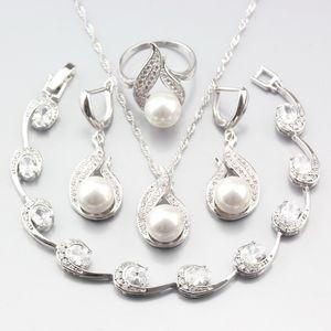 ewelry Accesorios Precio Especial joyería de plata 925 mujeres novia Establece la perla natural blanca circón pendientes / colgante / collar / anillo / Br ...