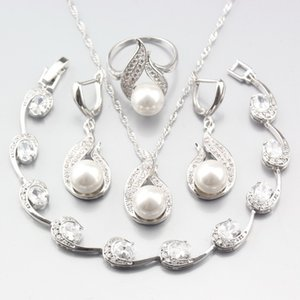 Acessórios Preço Especial Prata ColorWomen Wedding Jóias Define Natural Pearl White Zircon Brincos / Colar Pingente / / Anel / Pulseira Bri ...