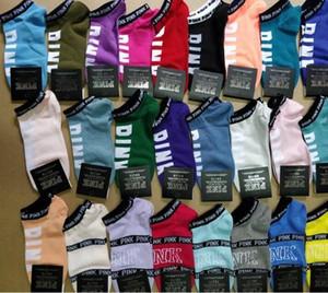 Rosa Lettera Calzini Donne Sport Cotton Socks pantofole rosa amore cavigliera Ragazze Sexy Calze Sock breve VS nave calze estate con Tag W95