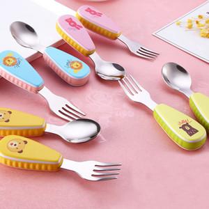 2pcs / Set Vaisselle pour enfants en acier inoxydable de dessin animé créative 304 en acier inoxydable cuillère à soupe portable enfants fourchette cuillère