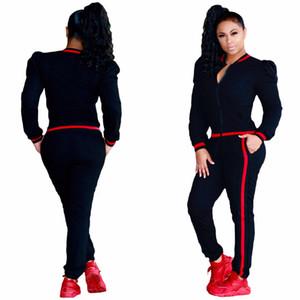 Women Clothes Two Piece Sets 2 piece woman set cross-border for Ribbon Lantern Sleeve Sports Set Women Spot suit New style JM2019