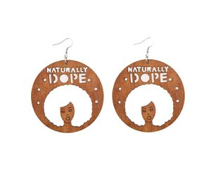 Naturally Dope Afro Earrings Natural Hair Earrings African American Woman Earring African Wood Jewelry