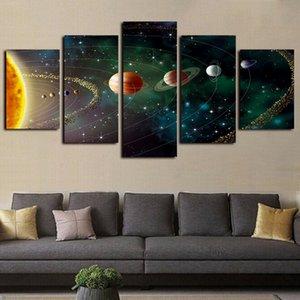 5 Verkleidungs-Leinwand-Wand-Kunst Schöne Planeten Spur Bilder Gemälde Giclee HD Drucke und Plakate auf Leinwand Öl Paintngs Artwork