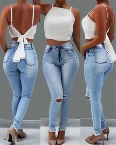 Calças Famale Designer Jeans Womens Luz Blue Hole Jeans cintura alta magro estiramento Pencil