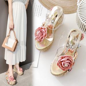 Alluring2019 Çiçek Charm Straw Kıvrımlı Makale Flanş Yazım Renk Rampa Terlik Sandalet Ile Yüksek 766-31