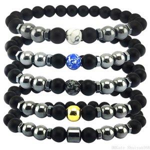Presente de Natal Preto Magnetic jóias hematita contas pulseira 8mm de Saúde Pedra Natural Bead Charm Bracelet Bangle Homens Mulheres Vintage