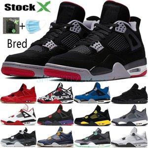 2019 Air Jordan 4 Bred 4s chaussures de basket-ball hommes mens laser noir gomme tonnerre redevance tatouage lave chaude rapotors designer baskets IV Pure formateurs d'argent