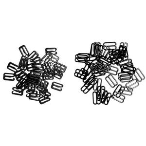 200 Pièces Bra Lingerie régleur Bracelet Boucle crochets coulissant Bikini Fastener -Black 15mm