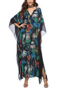 Женщины Свободные пляжные Обложка Пляж Пляж Kaftan Beachwear V-образным вырезом Летучая мышь Рукав Floral Распечатать Лоскутное Длинные Мать Макси Платье Пляж Пончо Ночная одежда