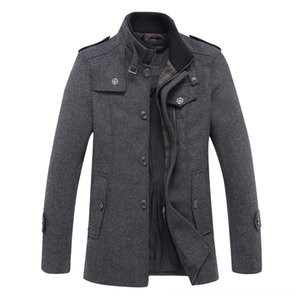 Autumn New Style Woolen Coat Men's Outerwear & Coats Men's Clothing Mens Midlength Woolen Jacket Middleaged Stand Collar Trench Coat
